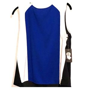 Vince Camuto Emerald Blue, Black, and White Blouse
